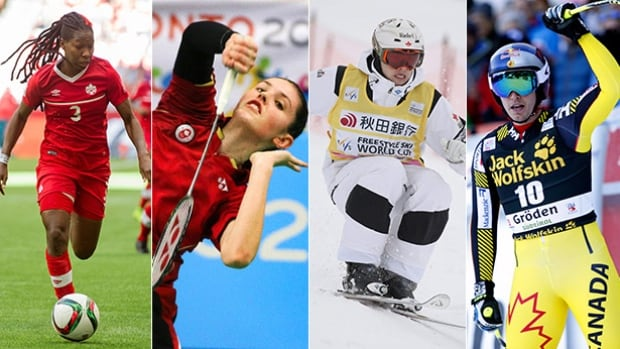 From left to right, defender Kadeisha Buchanan, badminton player Rachel Honderich, skier Erik Guay, and moguls star Mikael Kingsbury will all be featured on this weekend's Road to the Olympic Games.