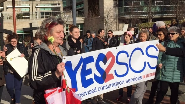 A rally supporting a safe consumption site for Victoria gathered about 150 people.