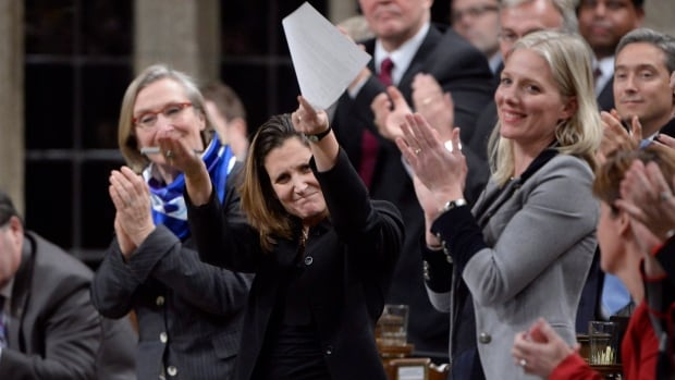 International Trade Minister Chrystia Freeland ran out of time for some of her answers during Monday's question period. The length of time MPs spend on their feet applauding has been blamed for eating up too much time during the 45-minute daily session.