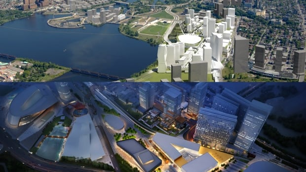 Aerial views of LeBreton Flats as envisioned by bidders RendezVous LeBreton, top, and Devcore Canderel DLS Group, bottom.
