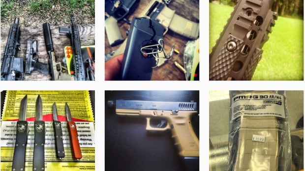 This screengrab shows guns and other weapons for sale on Facebook-owned Instagram.