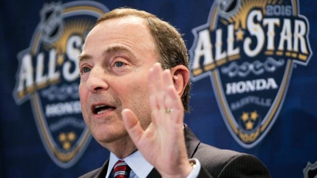 NHL commissioner Gary Bettman speaks at a news conference before the NHL All-Star hockey game skills competition Saturday in Nashville, Tenn.