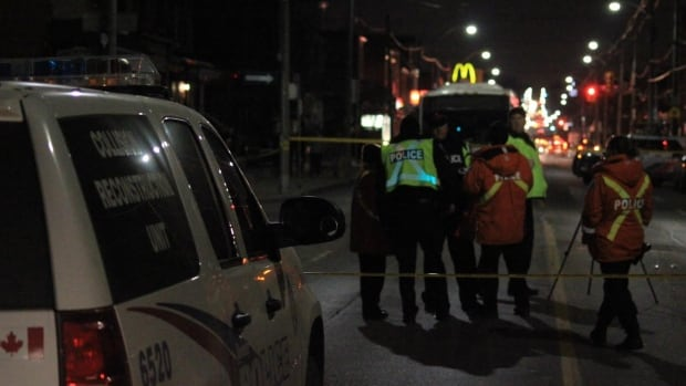 The elderly woman was struck by a vehicle travelling northbound, police said.