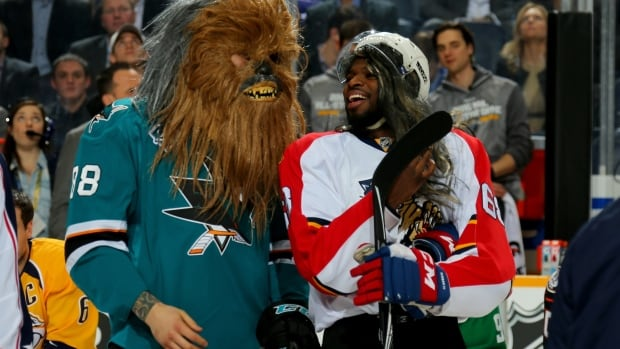 Brent Burns #88 of the San Jose Sharks and P.K. Subban #76 of the Montreal Canadiens pulled out all the stops in order to win the fan voted breakaway challenge.