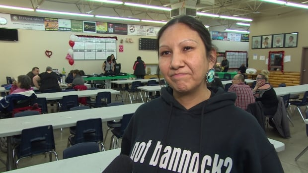 Althea Guiboche celebrated three years of handing out bannock and other food to Winnipeg's homeless on Saturday.