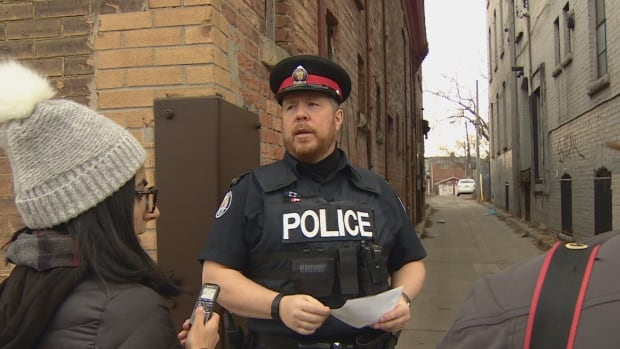 Const. Craig Brister says the man who sexually assaulted a young woman late Saturday fled west through Linda Griffiths Laneway, off Ryerson Avenue.
