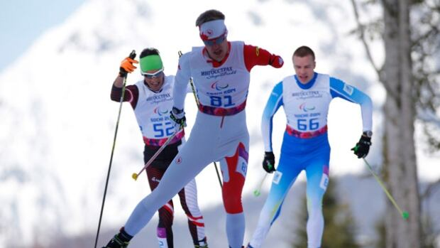 Mark Arendz of Canada, centre, competes during the cross country men's 10km, standing event at the 2014 Winter Paralympics. Arendz won three medals last week at the IPC Asian Cup.