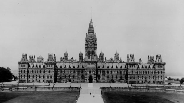 The Parliament Buildings in Ottawa are shown here before the 1916 fire.