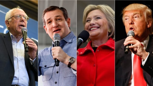 Bernie Sanders, Ted Cruz, Hillary Clinton and Donald Trump are among the politicians vying for the Democratic or Republican presidential nominations.