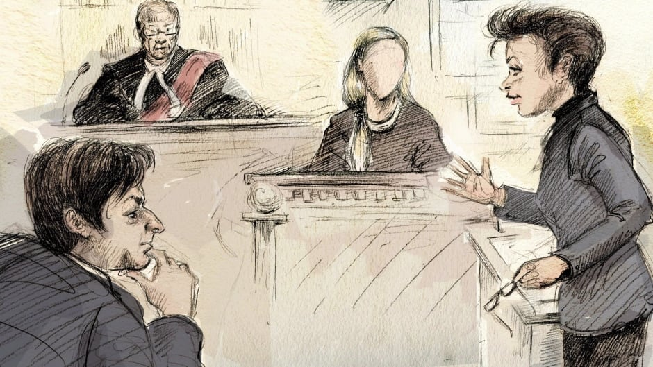 In this artist's sketch, Jian Ghomeshi (left to right), Justice William Horkins, a witness and Ghomeshi's lawyer Marie Henein appear in court on the first day of the former CBC host's trial in Toronto, Monday, Feb.1, 2016.