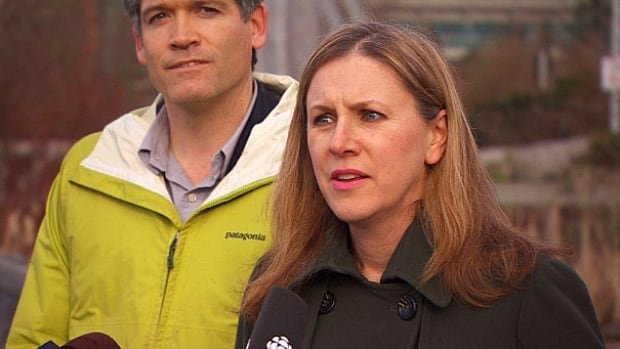 Nick Page, a biologist for the Vancouver park board and its chair, Sarah Kirby-Yung, announced the biodiversity strategy Tuesday at False Creek.