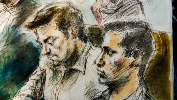 An artist's rendering shows Dellen Millard (left) and Mark Smich in Ontario Superior Court on Tuesday. They are accused of first-degree murder in the death of Tim Bosma.