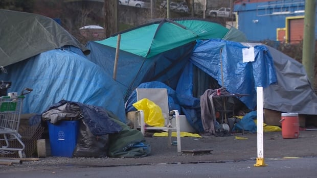A homeless camp in Abbotsford, B.C., has been set up for two years.