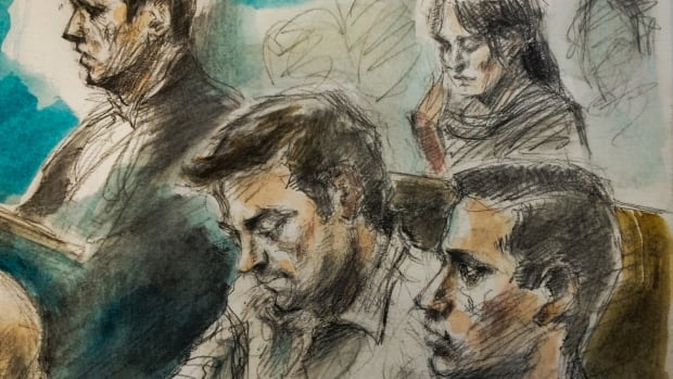 Tim Bosma's wife, Sharlene Bosma, was among those in the packed courtroom in Hamilton on Tuesday. The two men accused of murder in Tim Bosma's death are Dellen Millard and Mark Smich, show here in the foreground.
