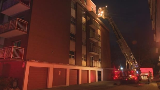 Firefighters used an aerial ladder Tuesday evening to put out the fifth-storey fire.