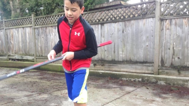 11-year-old Brandon Carinha loves hockey and had just learned how to skate this year.