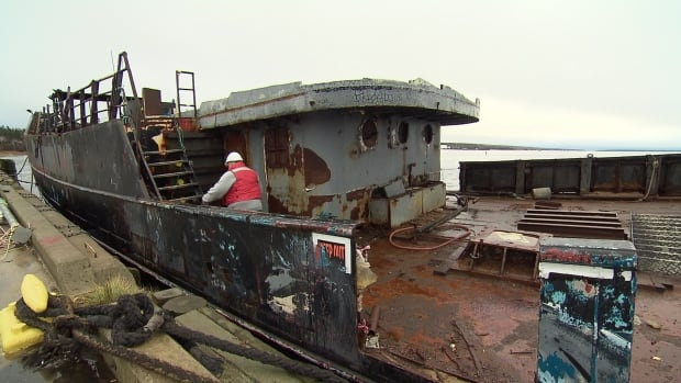 The Farley Mowat, a former anti-sealing ship, is tied up in Shelburne.