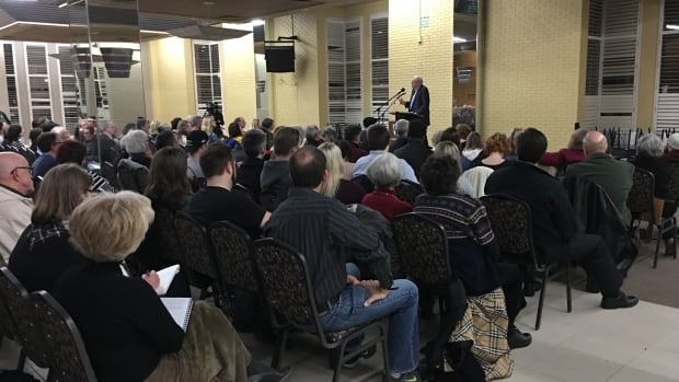 About 120 people attended event to hear why former Toronto mayor John Sewell opposes new mega-hospital site.