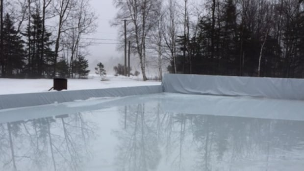 The ice is melting on this backyard rink in the Battery Point neighbourhood of Stratford, P.E.I.