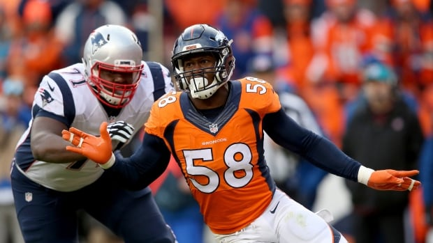 Von Miller, right, was the key figure in Denver's upsets of New England in the AFC title game and Carolina in Super Bowl 50.