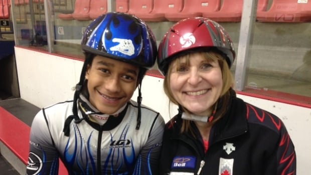 Isaiah Jessie (left) arrived in Kamloops last September and was eager to start skating, said coach Sandi Vyse (right).