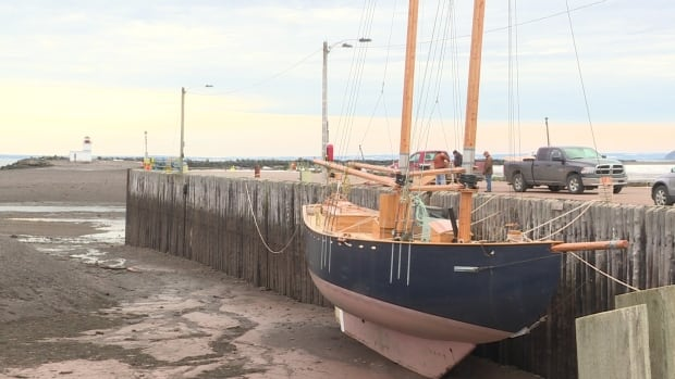 The crew of the Katie Belle hope to leave Parrsboro at high tide on Saturday.