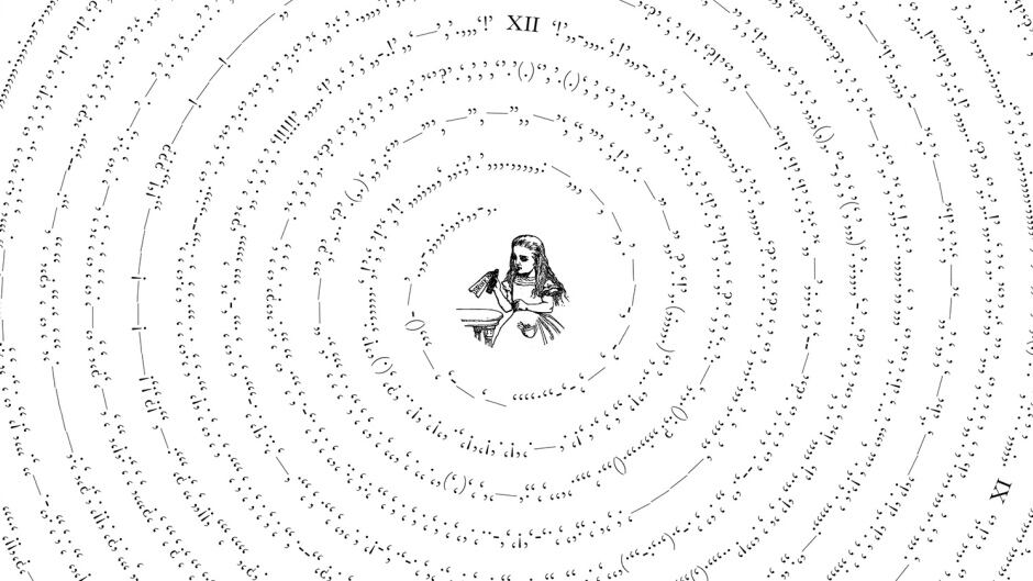 "The punctuation of Alice in Wonderland. Artwork from ""Between The Words""."