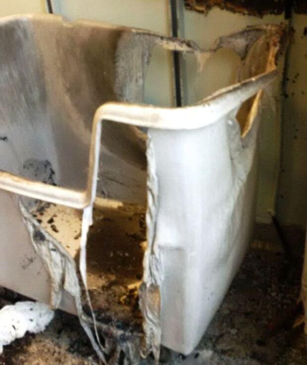 Burned linen hamper