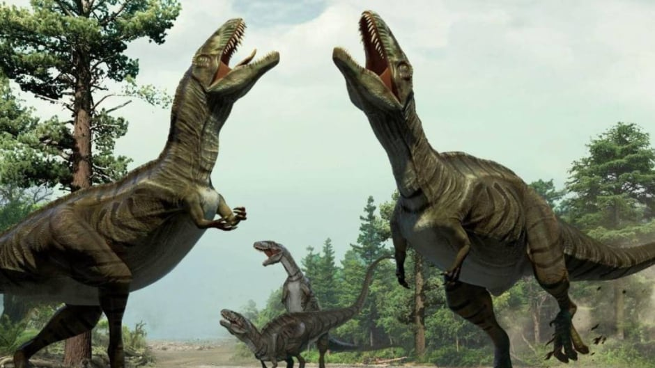 Artist's impression of Cretaceous therapod dinosaurs doing mating displays