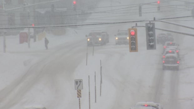 Streets were messy in Fredericton late Friday as a winter storm descended on the city.