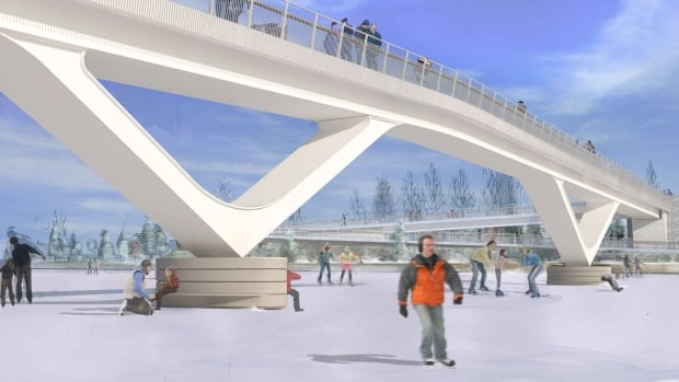 One of two new images unveiled this week of a proposed footbridge that would span the Rideau Canal and connect Fifth Avenue with Clegg Street.