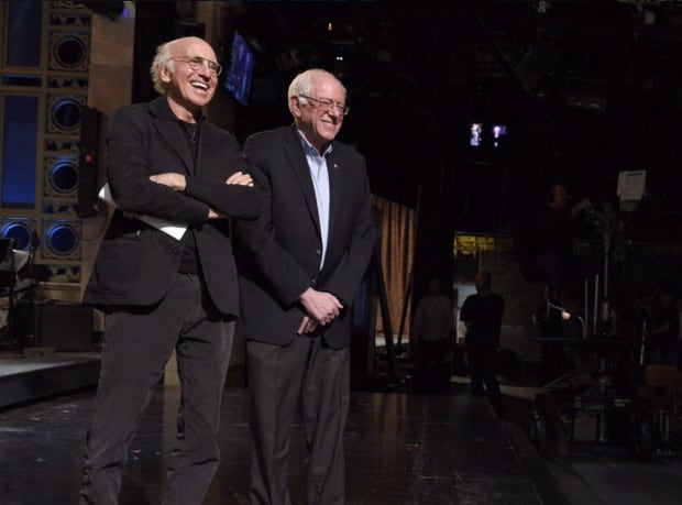 larry-david-with-bernie-sanders-on-snl-feb-6-2016 Larry David and Bernie Sanders are more than just look-alikes. They're related