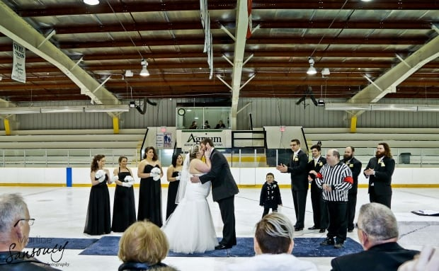 Brittany and Wade Peterson said their vows on ice