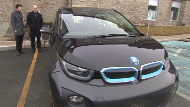 Environment Minister, Perry Trimper's new BMW electric car.