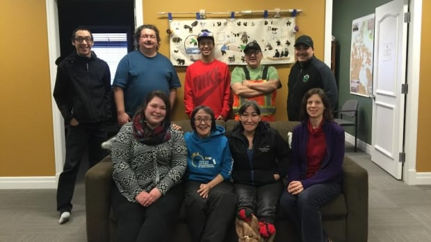 Participants in the Kugluktuk Radio Production course included (back row, from left) Chad Garrett Hayokhok, Bill Polonsky (trainer), Keith Hatogina, Ron Tologanak, Jason Tologanak. (Front row, from left) Melissa MacDonald, Ida Okheena, Helen Ogina and Natalie Griller.