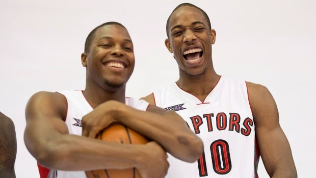 Raptors' Kyle Lowry, left, and DeMar DeRozan will represent the home team as the NBA all-star weekend makes it's debut in Canada starting on Friday, Feb. 12.