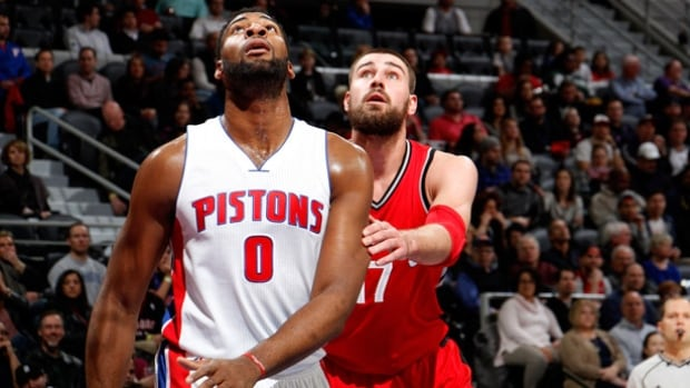 Pistons centre Andre Drummond has inside position on Raptors centre Jonas Valanciunas during the game in Detroit. He scored from much farther out to close the third quarter.