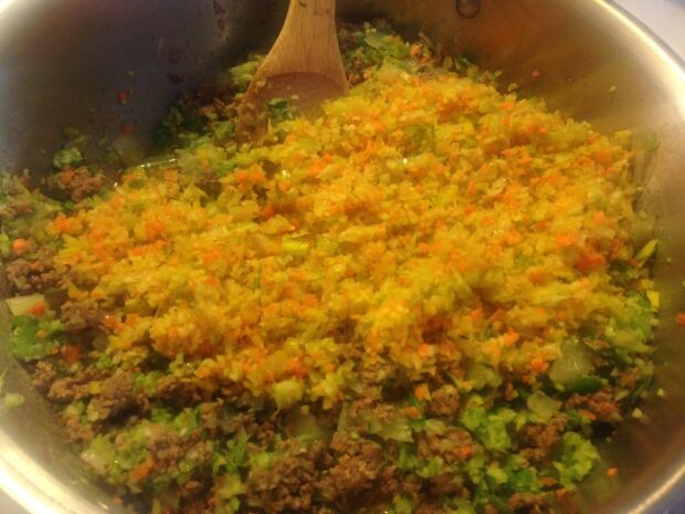 Ground beef, vegetables, lentil mix for Shepherd's Pie