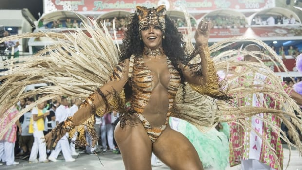 Dancer Evelyn Bastos celebrates in Rio de Janeiro on Monday.