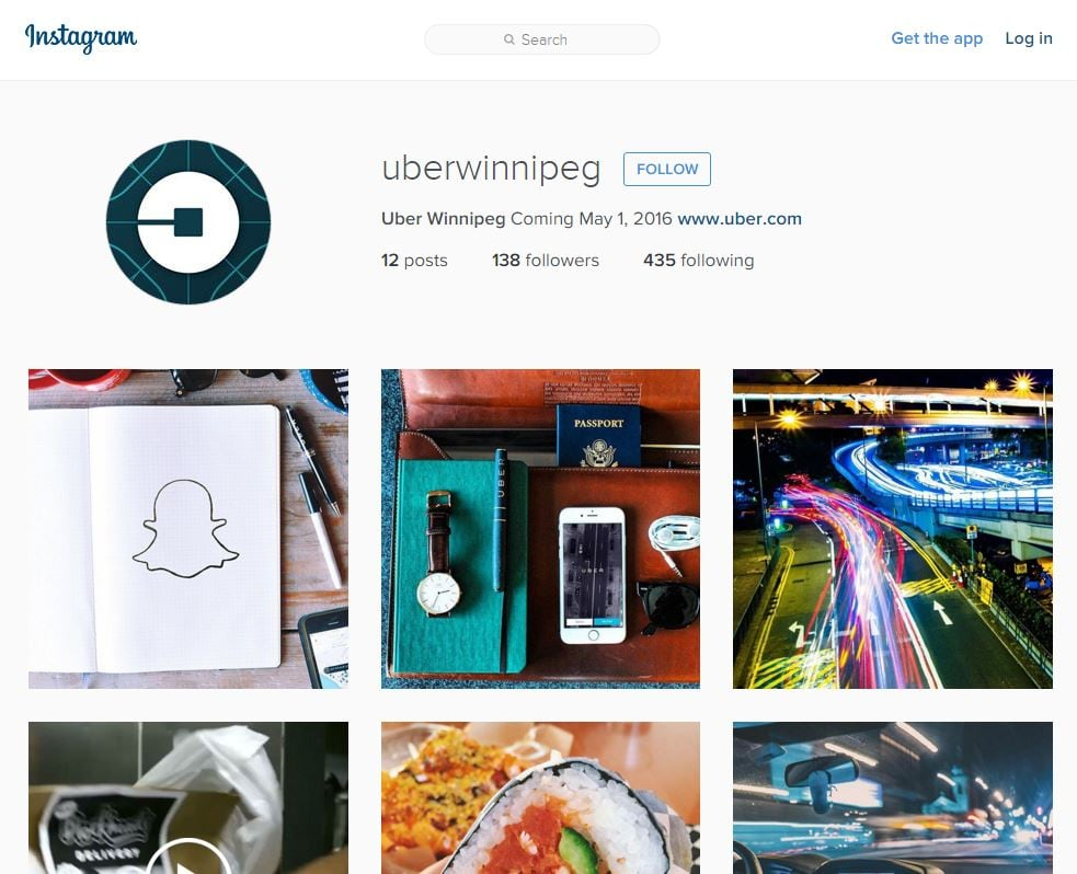 Uber Winnipeg' Instagram page not official, company says