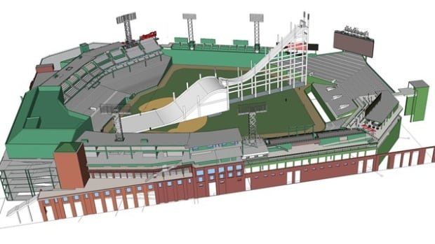 An artist's rendering of the big air competition at Fenway Park in Boston.