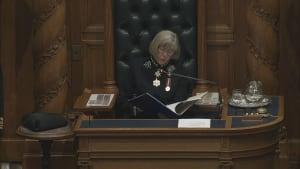 Lt.-Gov. Judith Guichon reads throne speech in Victoria on Feb. 9, 2016