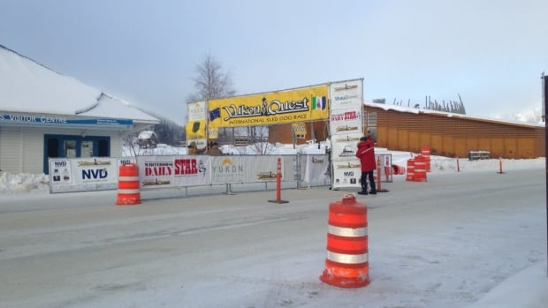 The checkpoint is erected in Dawson City on Tuesday, in preparation for the arrival of the first mushers. Teams must stay in Dawson at least 36 hours before again hitting the trail.