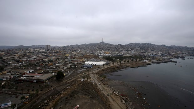 An aerial view shows the coastline of Coquimbo, Chile, following an earthquake on Sept. 18, 2015. The U.S. Geological Survey said a magnitude 6.3 earthquake struck 98 kilometres southwest of Coquimbo on Tuesday.