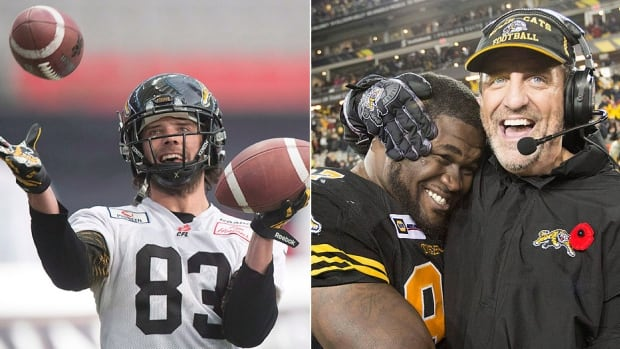 The Tiger-Cats signed three players on Day 1 of free agency Tuesday, re-signing receiver Andy Fantuz, left, and defensive tackle Ted Laurent, right. Hamilton general manager/head coach Kent Austin, far right, also signed former B.C. Lions linebacker Alex Hoffman-Ellis. Laurent and Hoffman-Ellis signed for two years while Fantuz signed on for the 2016 season.