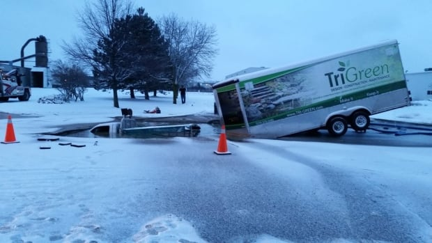 Pickup truck sinkhole