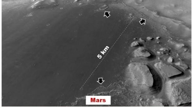 Pictured here is the floor of a basin where scientists propose shallow lakes could have formed within the last few tens of millions of years on Mars. The arrows show ridges that may be a feature of lakes that formed under extremely cold and dry Martian conditions