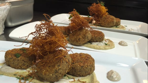 Chickpea and Oat Fritters with Eggplant Smear