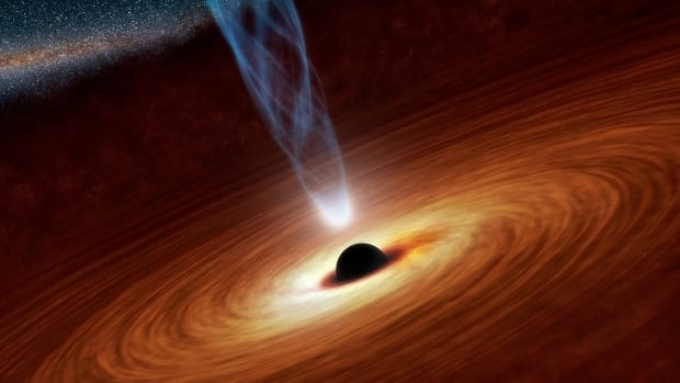 A supermassive black hole with millions to billions times the mass of our sun is seen in an undated NASA artist's concept illustration. In this illustration, the supermassive black hole at the center is surrounded by matter flowing onto the black hole in what is termed an accretion disk. This disk forms as the dust and gas in the galaxy falls onto the hole, attracted by its gravity. Also shown is an outflowing jet of energetic particles, believed to be powered by the black hole's spin.