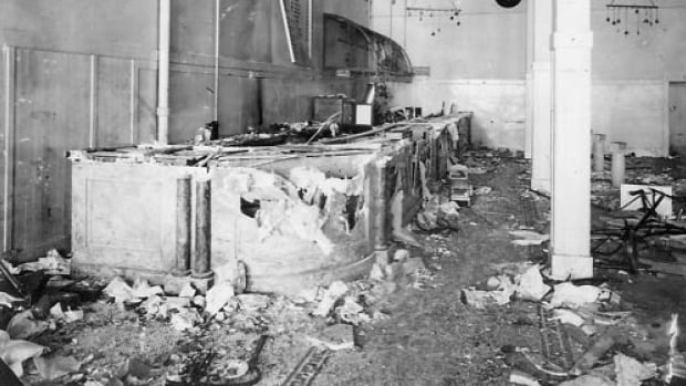 The aftermath of the riot at the Riverside saloon in 1916.